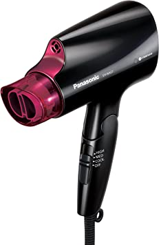 Panasonic Asciugacapelli compatto con tecnologia nanoe per capelli più lisci e luminosi, include ugello ad asciugatura rapida e manico pieghevole