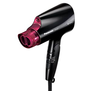 Panasonic Compact Hair Dryer with nanoe Technology for Smoother, Shinier Hair, includes Quick-Dry Nozzle and Folding Handle for Travel, EH-NA27-K