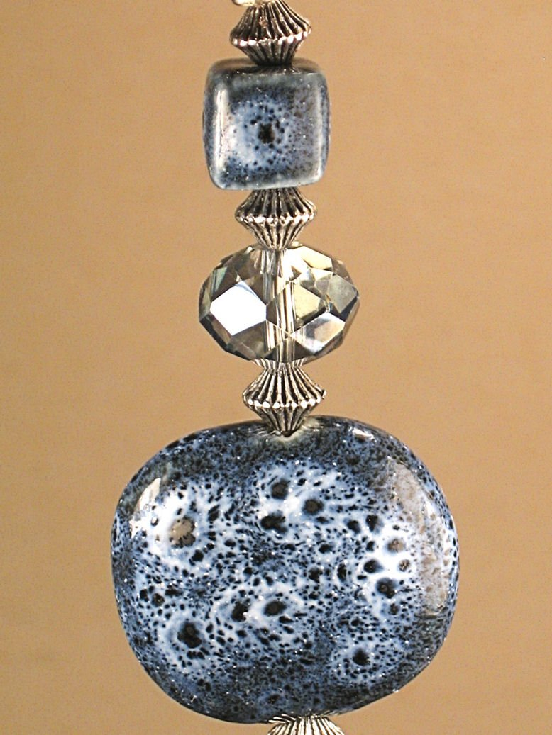 Denim Blue Porcelain and Lampwork Glass Light/Fan Ceiling Pull
