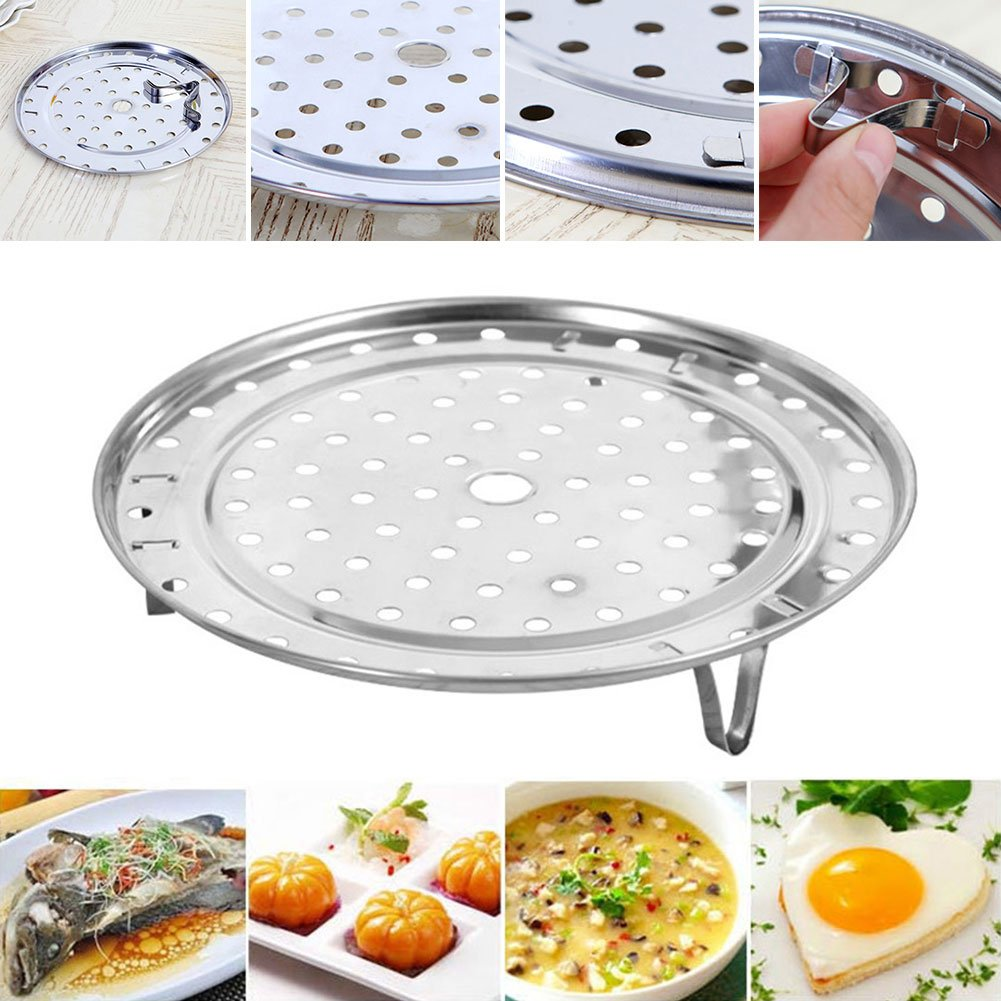 Stainless Steel Steam Basket Rack and Cooling Rack Cooking Round Pressure Cooker Food Steamer with Detachable Legs Insert Pot for Cooking,Toast,Bread,Salad,Baking (L) by YOEDAF (Image #8)