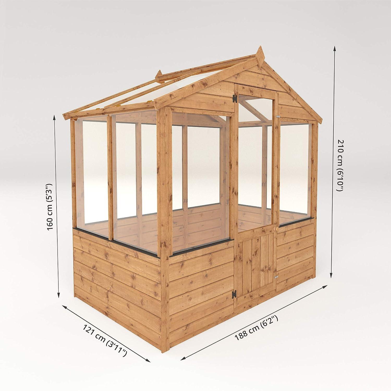 4 x 6 de madera invernadero y terrenos de#x2666; Hampton de casa verde y#x2666; Traslapadas T y G y#x2666; Ventanas a prueba de impactos: Amazon.es: Jardín