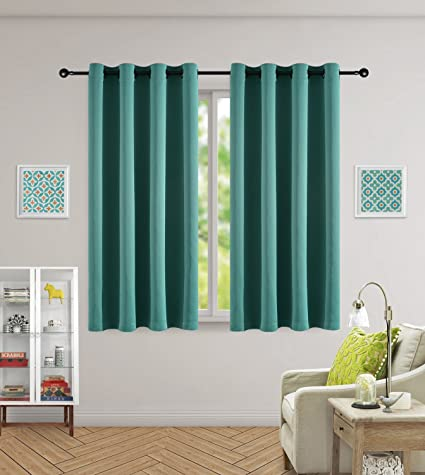 Merveilleux Kotile Ring Top Curtains 63 Inch Lench Heavy Thick Window Privacy Assured  Teal Blackout Curtains Para