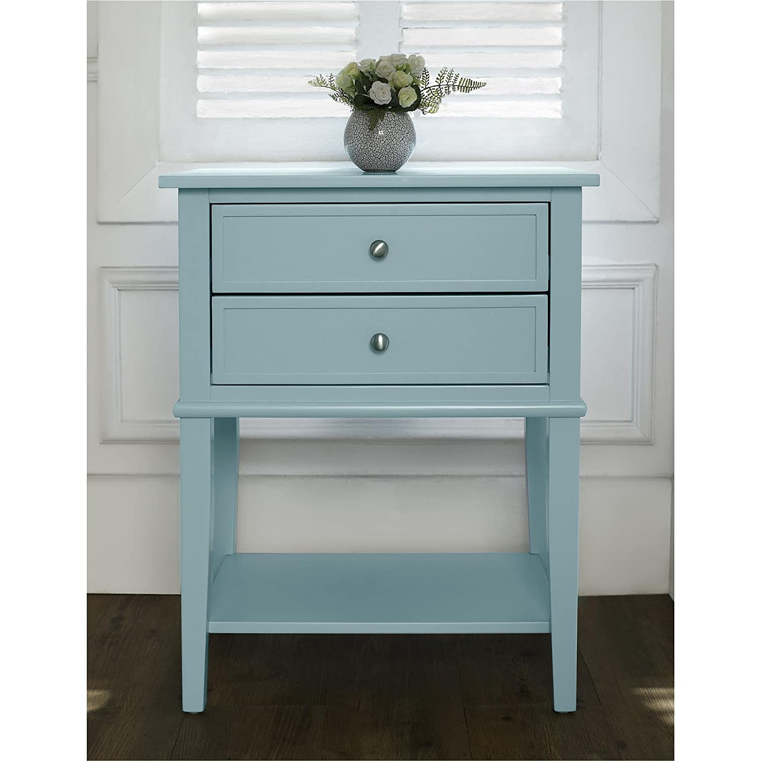 Ameriwood Home 5062396COM Franklin Accent Table 2 Drawers, Blue