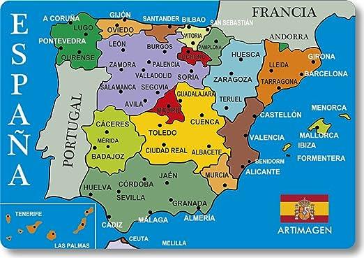 Magnet Karte Stadte Spanien Blau Amazon De Kuche Haushalt