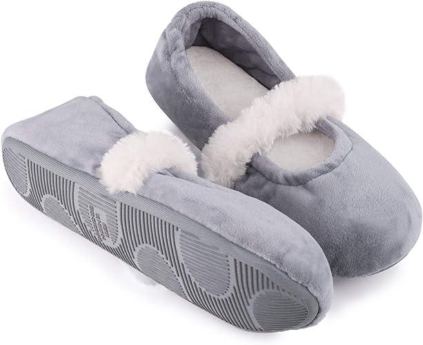Womens Footwear Soft Warm Cosy Animal /& Plain Design Ballerina Slippers Sz 3-8