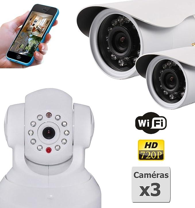 Pack de 3 Cámaras de vigilancia HD IP WiFi 1 interior y 2 exteriores: Amazon.es: Electrónica