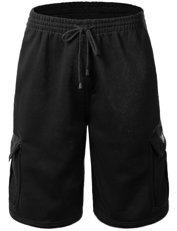 7b55824ede2 Mens Cargo Sweat Shorts Elastic Drawstring Casual Loose Fit Fleece ...