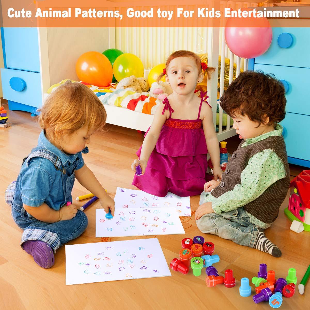 TedGem Tampons Enfants Tampon Encreur Enfant Tampons Animaux pour Les Enfants Portable /& Riche en Motifs 26 PCS Un Bon Jouet pour Les Enfants /à divertir