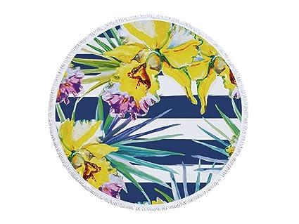 kxrzu Gracioso Patrones coloridos de la flor y de las tiras impresas Toalla redonda de la