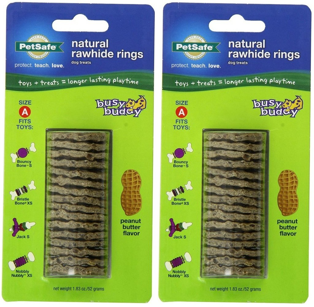 (2 Pack) PetSafe Size A Busy Buddy Refill Ring Dog Treats for Select Busy Buddy Dog Toys, Peanut Butter Flavored Natural Rawhide BB-RING-PB-A