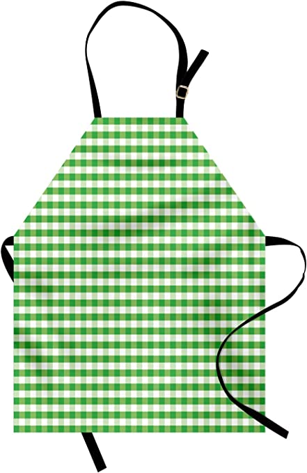 Kitchen Cooking Beige Cotton with Plaid Stripes Vintage Apron