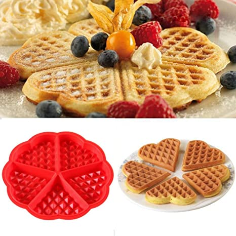 waffle stampo in silicone a forma di cuore antiaderente waffle cake ...