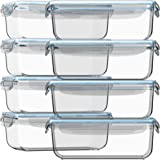 Recipientes de almacenamiento de vidrio con tapa, 16 unidades (juego de 8) recipientes de vidrio herméticos…