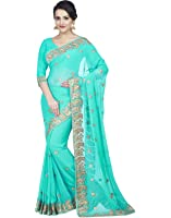 Zofey Georgette Saree With Blouse Piece (Darpanrama-Saree01_Light Blue_Free Size)