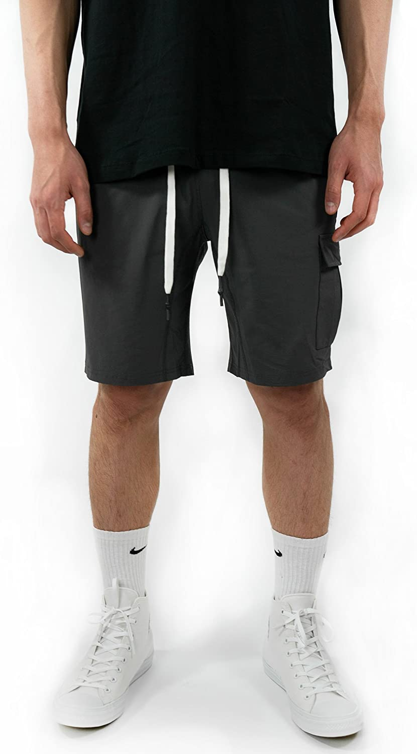 Onthec Active Tech Shorts Performance Based Gray Fitness Bottoms Track Nylon Tactical Cargo Pocket
