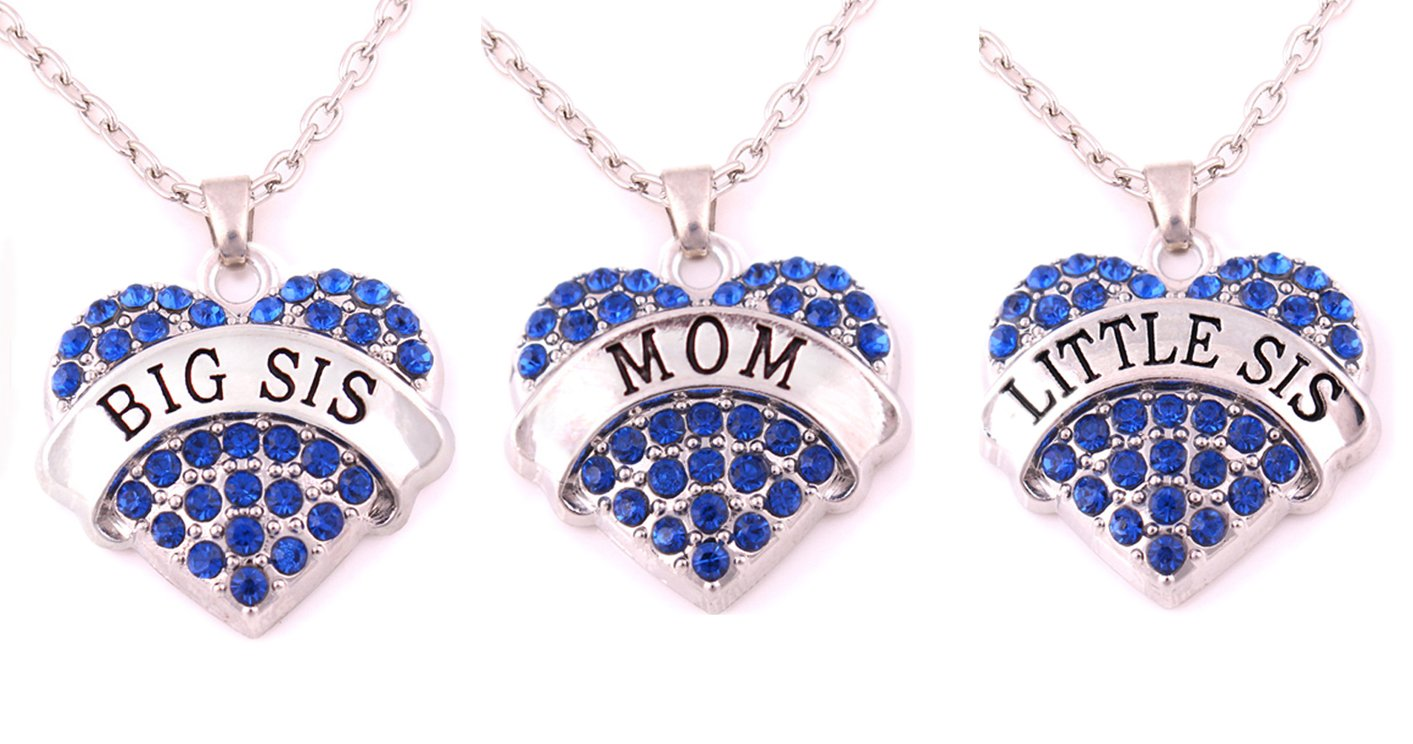 Charm.L Grace Crystal Heart Necklaces Set Mom Big Sis Middle Lil Sister 3pcs(3BU-M) charmlight Jewelry CLNA500310-3BU-M