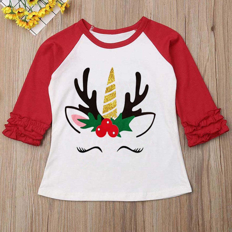 c6eae08d7 Amazon.com: Toddler Kids Baby Girls Unicorn T-Shirt Long Sleeve Top Lace  Sleeve Clothes Set: Clothing