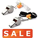 [Voted #1 Whistles] Premium Metal Whistle Pack of 2 with Adjustable & Removable Lanyard by RunTasty. Ideal for Teacher, Football / Basketball / Soccer Coach, Sports, Safety, Emergency or Protection!
