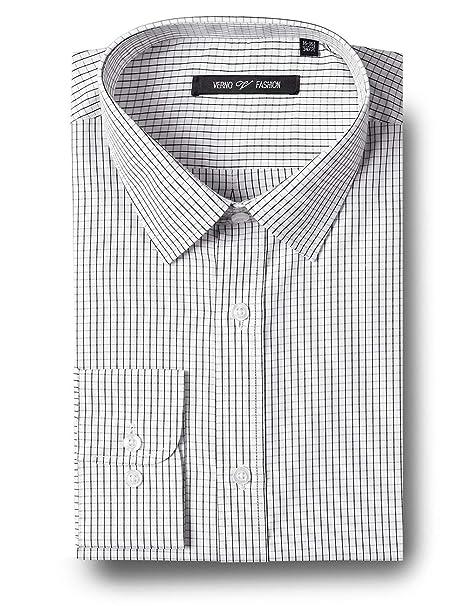 Amazon.com: Verno - Camisas de vestir para hombre, tela a ...