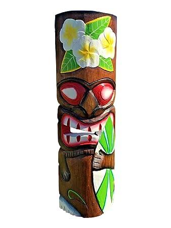 Amazon Com 20 Handcarved Wood Tiki Mask Tropical Hawaiian Style