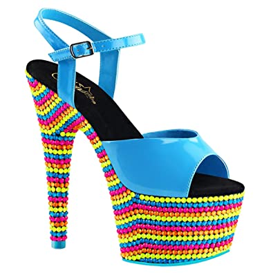 590259445 Summitfashions Womens High Heel Shoes Neon Blue Platform Sandals Blacklight  Stone 7 Inch Heels Size