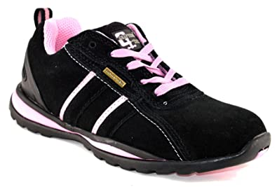 Grafters Ladies Womens Leather Suede Safety Lace Up Trainers Work Boots Shoes Size 3-8