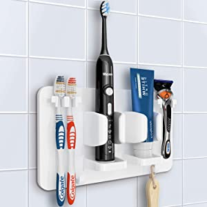 Mspan Toothbrush Razor Holder for Shower: Wall Mounted Adhesive Hanging Electric Toothbrush Organizer Stand for Bathroom, White
