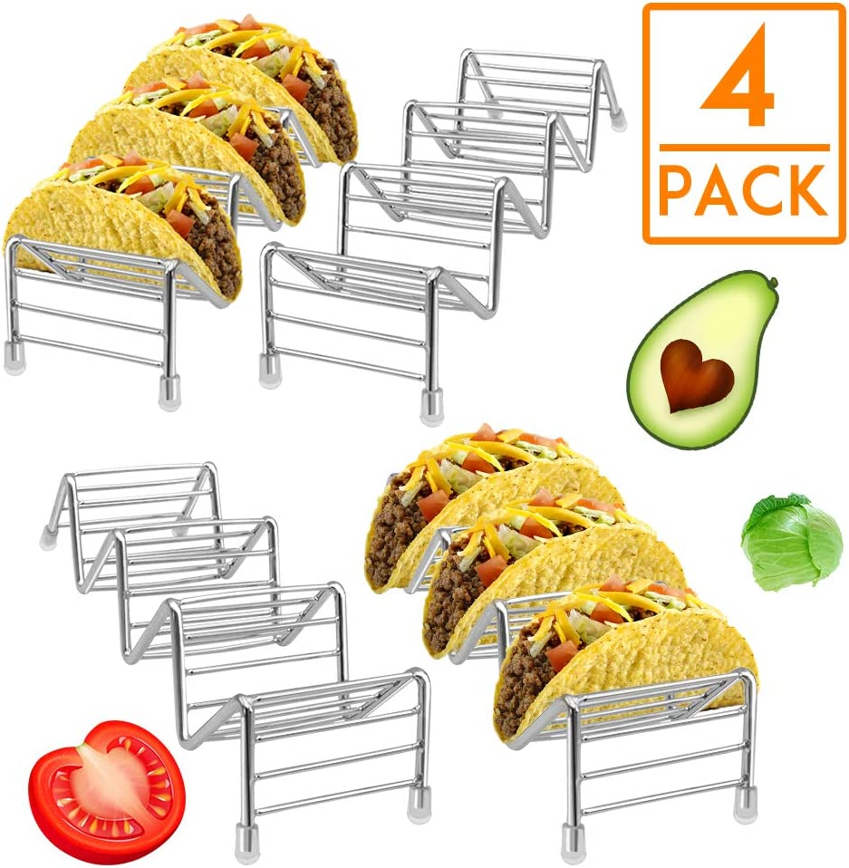 HR Stainless Steel Taco Holders Taco Stand Hold 12 or 16 Hard or Soft Shell Tacos Truck Tray Style Oven Safe for Baking(4pack)