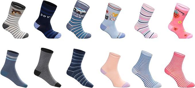 SG-WEAR 12 pares de calcetines infantiles para niños y niñas con un alto contenido de algodón Calcetines de deporte infantiles en varios diseños/tallas 23-26, 27-30, 31-34, 35-38 / (27-30, Boy): Amazon.es: Ropa y accesorios