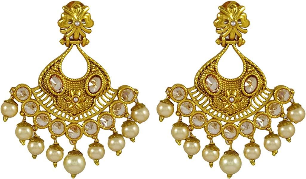 Bridal & Wedding Party Jewelry Sporting Traditional Goldtone Acrylic Stone Dangle Earring Bollywood Women Jewellery