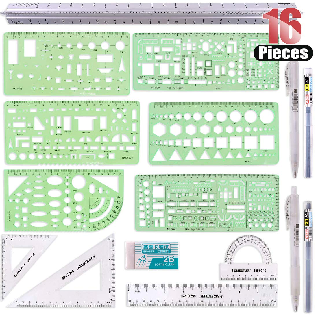 Hilitchi 16 Pcs Pack Plastic Measuring Templates Building Formwork Stencils Geometric Building Furniture Drawing Template Geometry Rulers and Drafting Scale Ruler with Eraser Pencil and Refills by Hilitchi