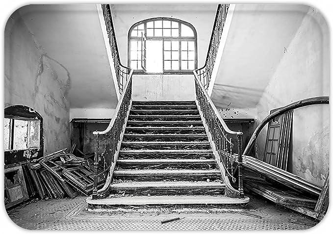 minicoso Felpudo rústico decoración para el hogar Mystic Worn encantada Casa Victoriana con Dañado Middle Age imagen negro y blanco: Amazon.es: Jardín