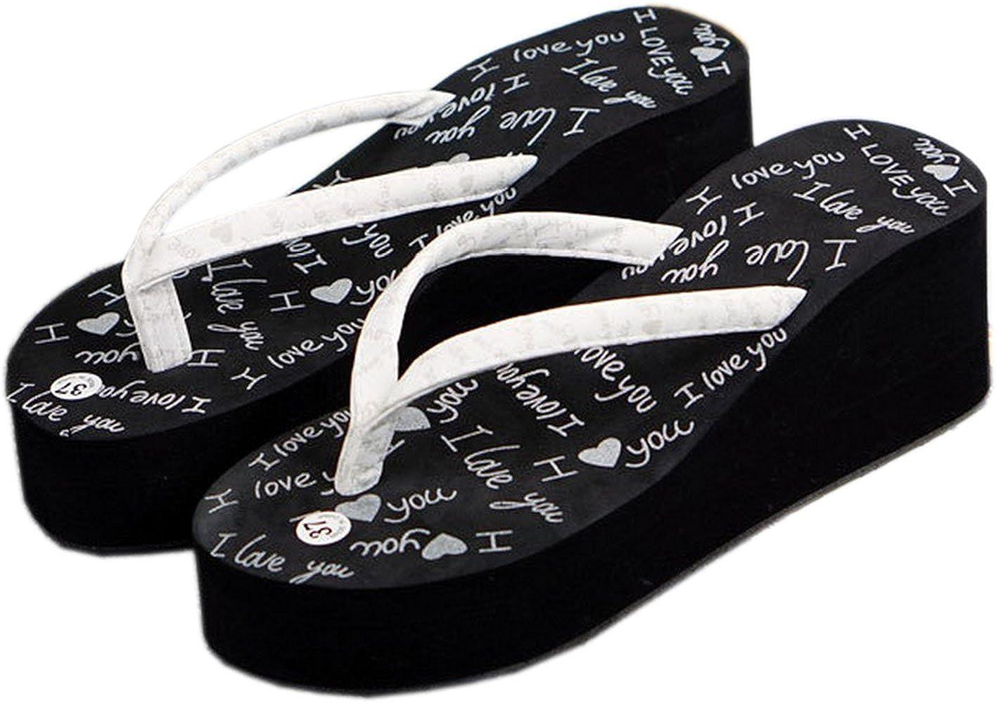 fec591f1f Bettyhome Women Sexy Fashion Graffiti Comfortable Thongs Casual Wedges Sandals  Beach Flip Flops Slippers (5 B(M) US EUR 36