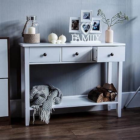 Surprising Home Discount Windsor 3 Drawer Console Table With Shelf White Wooden Hallway Living Room Bedroom Dressing Dresser Desk Furniture Interior Design Ideas Oxytryabchikinfo