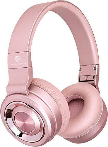 L LINPA M1Pro Bluetooth Headphones Over Ear, Hi-Fi Stereo Wireless Headset, 30Hrs Playtime, Soft Memory-Protein Earmuffs, w Built-in Mic and Wired Mode for TV Cell Phones PC Golden Rose