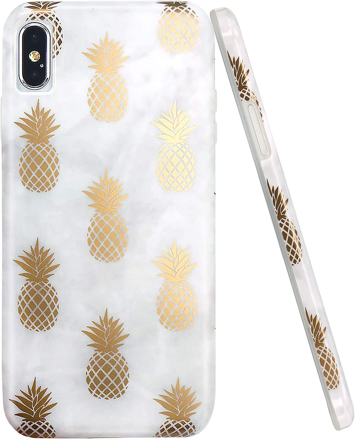 JAHOLAN Compatible iPhone Xs Max Case Shiny Rose Gold Pineapples Marble Design Clear Bumper TPU Soft Rubber Silicone Cover Phone Case for iPhone Xs Max 2018 Grey