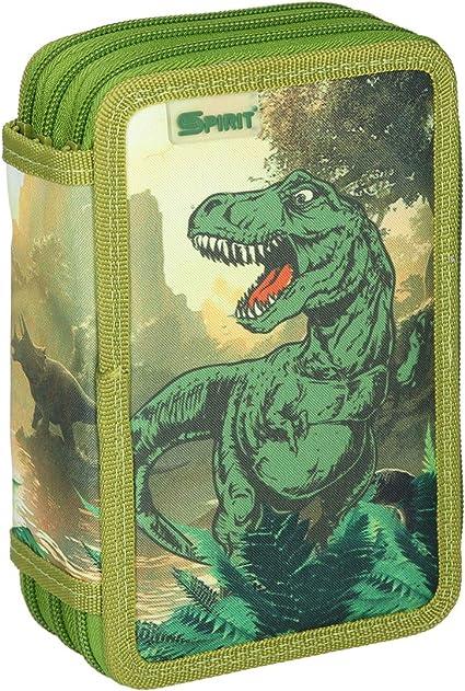 T-Rex - Estuche escolar con 3 compartimentos con cremallera, diseño de dinosaurios: Amazon.es: Oficina y papelería