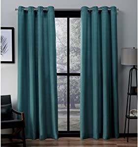 Exclusive Home Curtains Virenze Faux Silk Window Curtain Panel Pair with Grommet Top, 54x84, Teal, 2 Piece