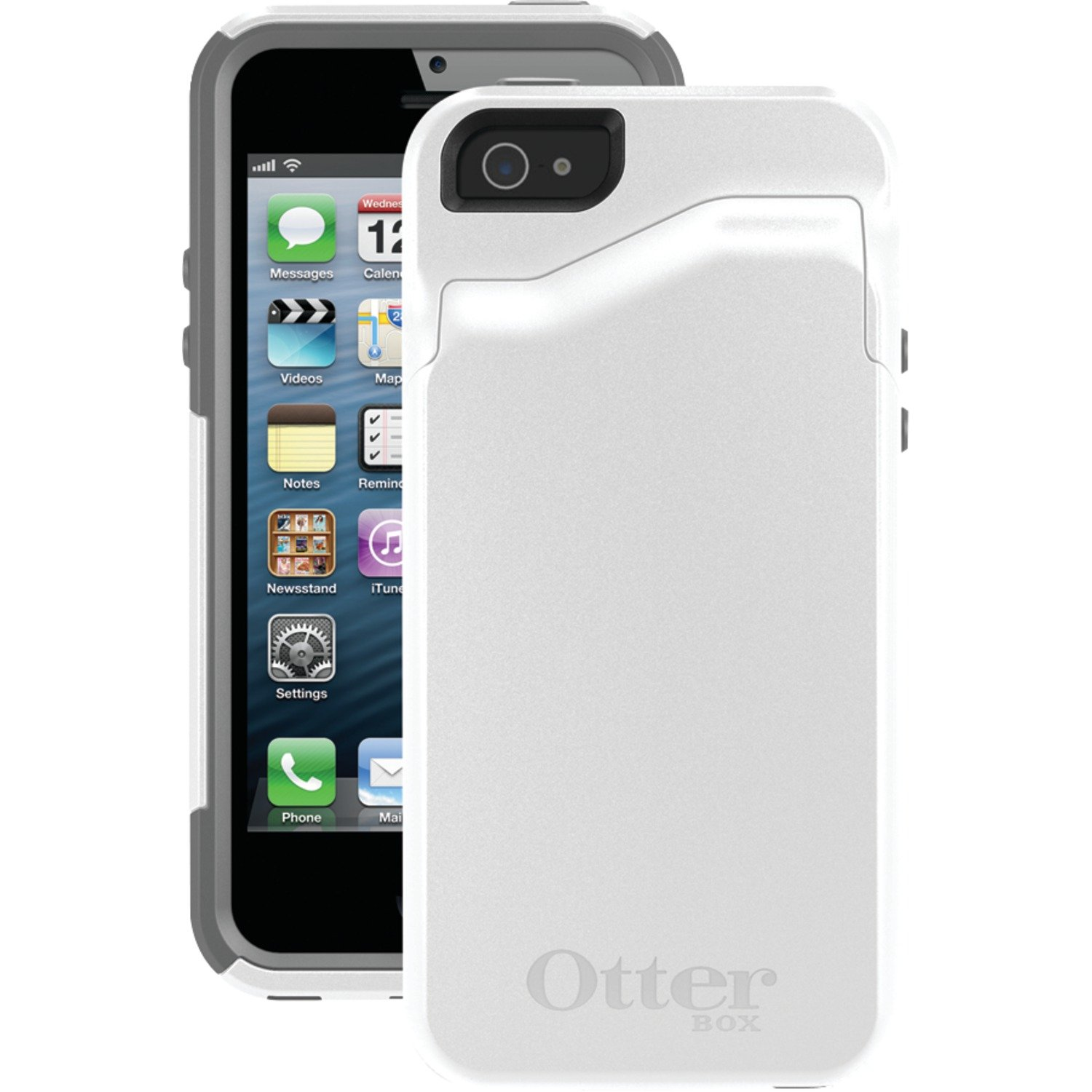 newest 510fd a643b OtterBox COMMUTER WALLET SERIES Case for iPhone 5/5s/SE - Retail Packaging  - GLACIER (WHITE/GUNMETAL GREY)
