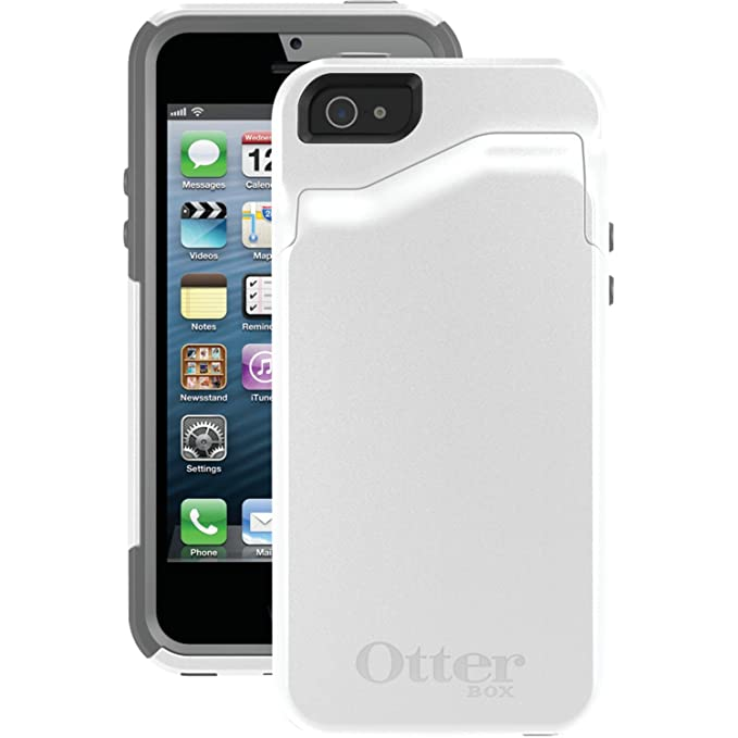 newest 8d202 fd388 OtterBox COMMUTER WALLET SERIES Case for iPhone 5/5s/SE - Retail Packaging  - GLACIER (WHITE/GUNMETAL GREY)