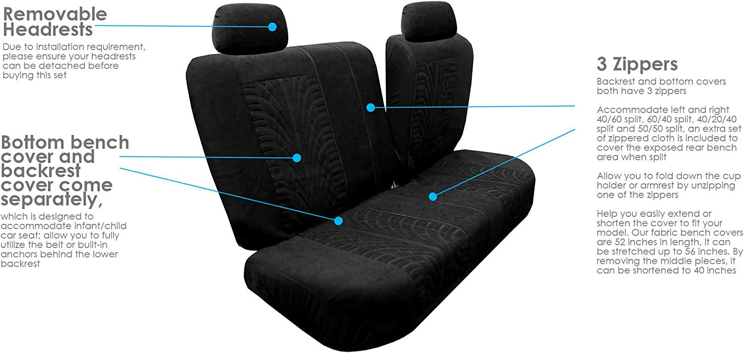 FH Group FB071BLACK115 Car Seat Cover Travel Master Airbag and Split Bench Compatible Black