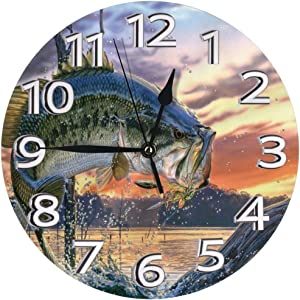ETOB Largemouth Bass Fishing Round Acrylic Wall Clock Non Ticking Silent Clocks for Home Decor Living Room Kitchen Bedroom Office School