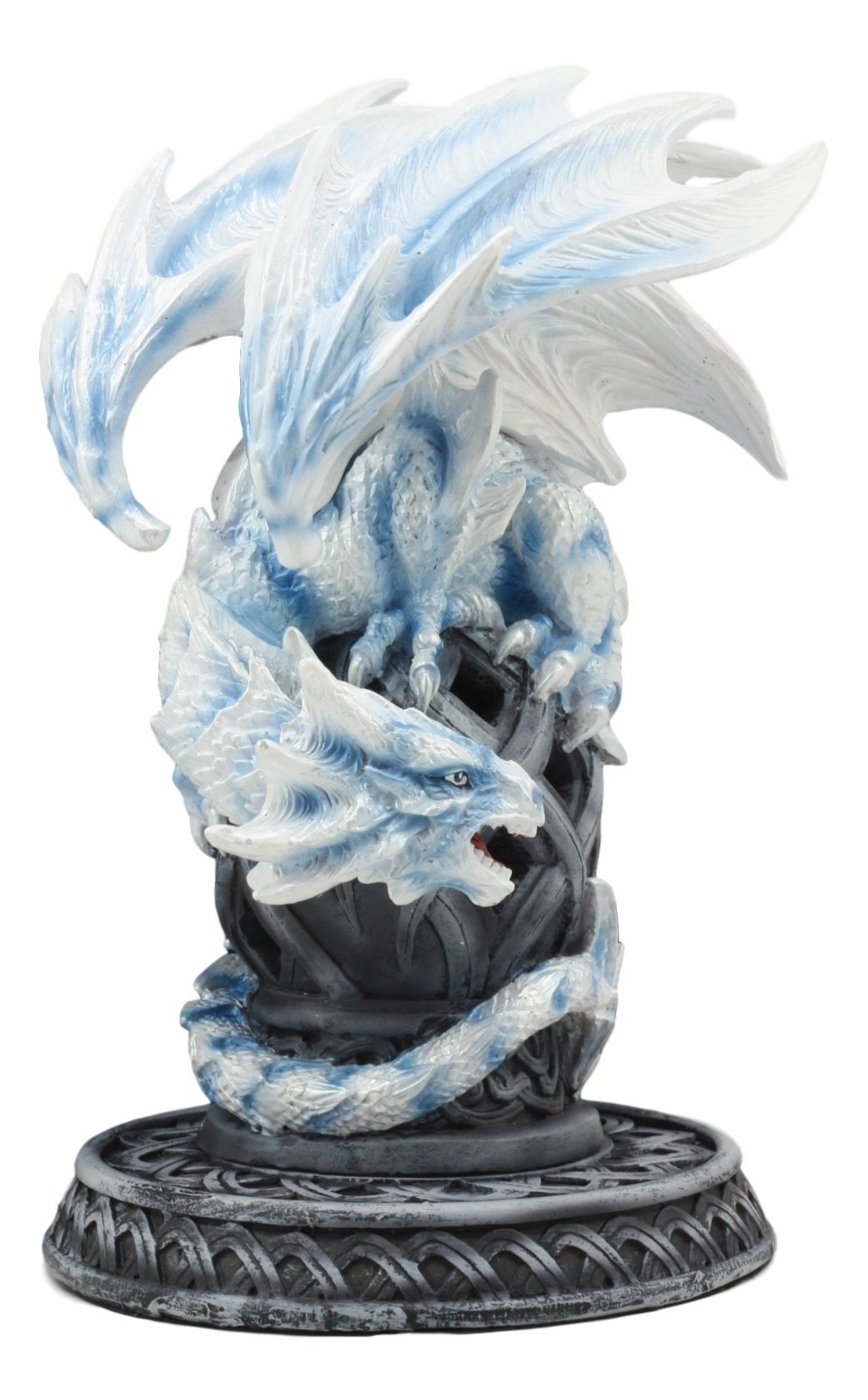 Ebros Guardian of Celtic Tomb White Icycle Dragon Backflow Cone Incense Holder Statue 8.5''Tall Fantasy Icelandic Dragon LED Tea Light Candle Holder Figurine by Ebros Gift (Image #5)