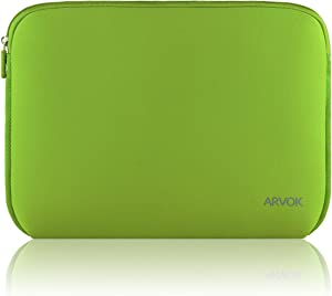 Arvok 13-14 Inch Laptop Sleeve Multi-Color & Size Choices Case/Water-Resistant Neoprene Notebook Computer Tablet Carrying Bag Cover, Bamboo Green