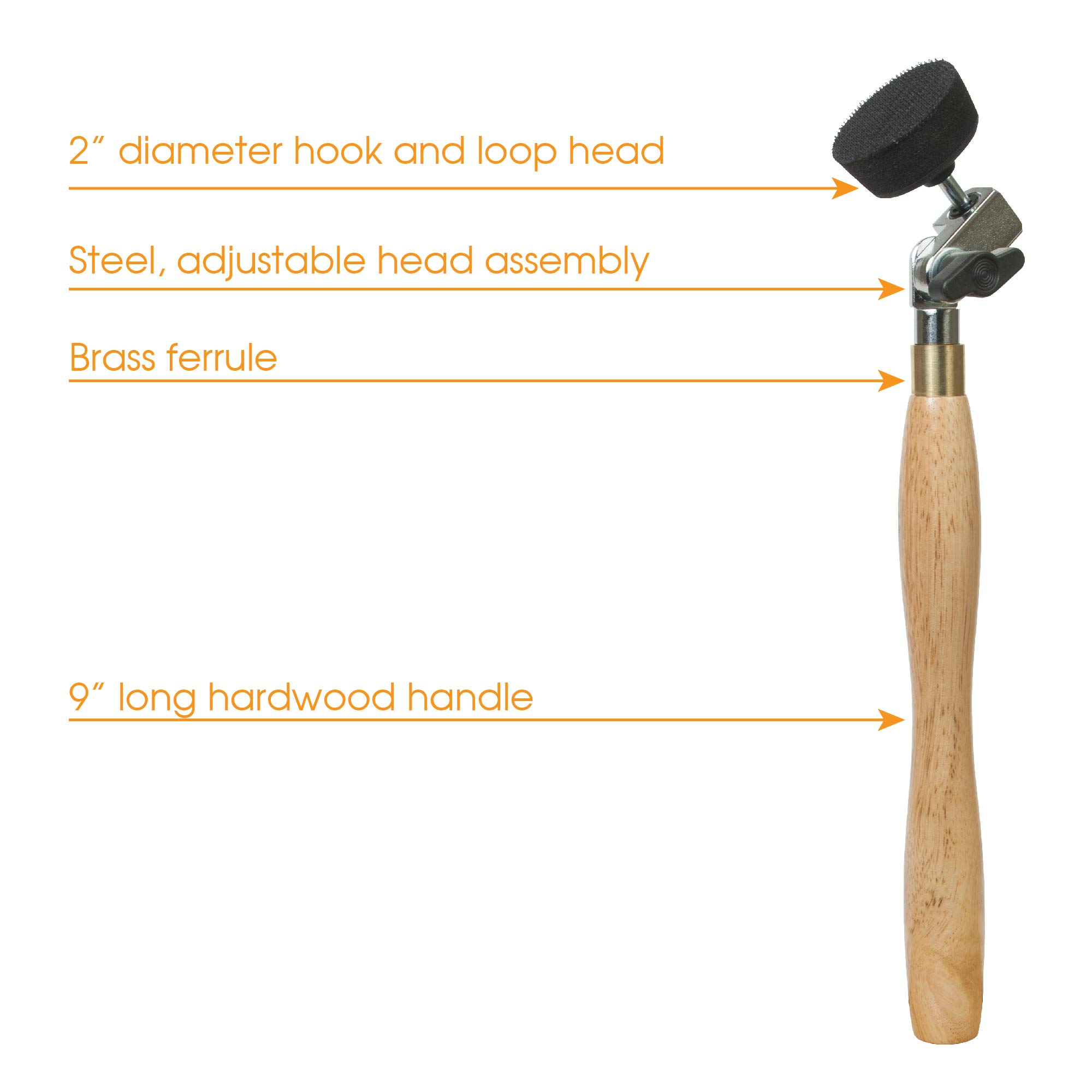 2'' Diameter Bowl Sander with Foam Hook & Loop Pad and 9'' Long Hardwood Handle, Ideal for Wood Turners for Bowls, Large Goblets, Platters, Some Spindles and Concave Shapes by Peachtree Woodworking Supply (Image #4)