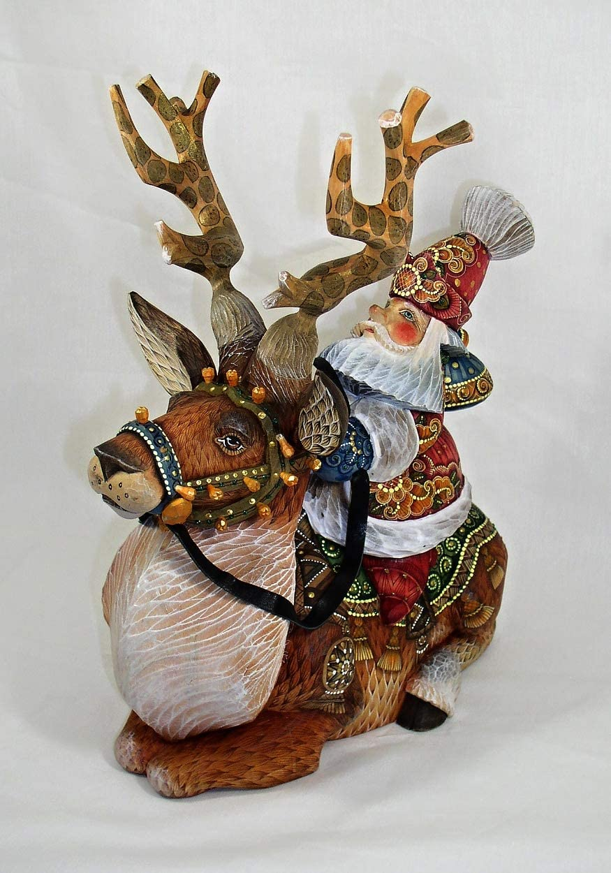 RussianOrnaments Santa Riding a Reindeer Hand Carved Painted Exclusive