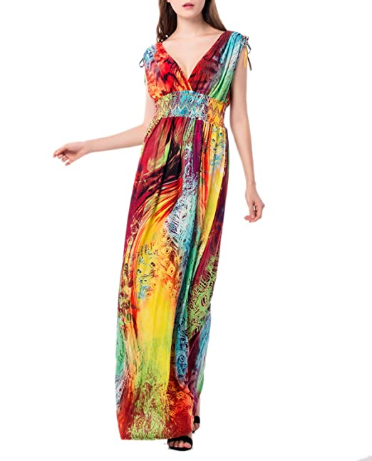 5936c76b527 Pamor Women Bohemian V Neck Loose Print Plus Size Long Beach Sleeveless  Maxi Dress (yellow1