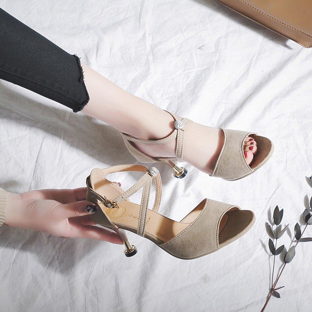 Hyun Times High-Heeled Sandelholze Wort 2018 Schnalle Weibliche Sommer 2018 Wort Neue Kreuzgurte Damenschuhe Wilde Koreanische Feine mit Fisch Mund Schuhe Beige f0eafe