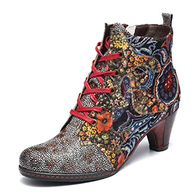 db96b6fd52d34 gracosy Women's Ankle Booties, Bohemian Splicing Pattern Lace up Block Heel  Leather Outdoor Boots