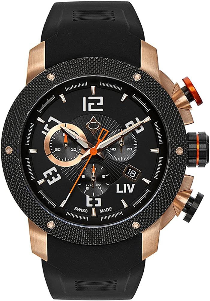 LIV GX1 Swiss Analog Display Chronograph Casual Watch for Men 45 mm Stainless Steel with Date Calendar 1000 feet Waterproof – Classic Black Rose Gold